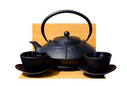 Cast Iron black  Dragonfly Tea set D - Tetsubin teapot kettle, trivet & cups X2